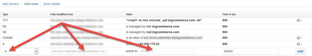 Bigcommerce DNS Settings