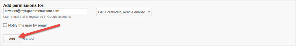 Google Analytics Add User Button