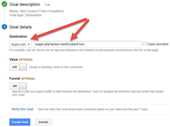 Google Analytics Contact Form Completion Goal Destination URL