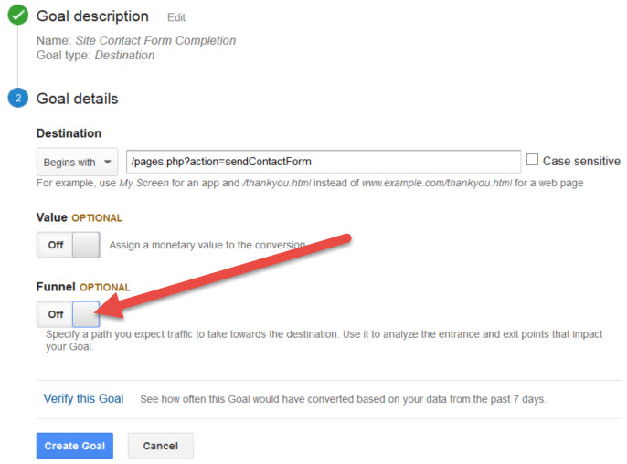 Google Analytics Contact Form Completion Goal Funnel Setting