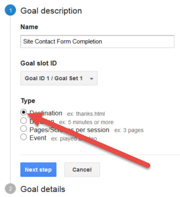 Google Analytics Contact Form Goal Type Destination
