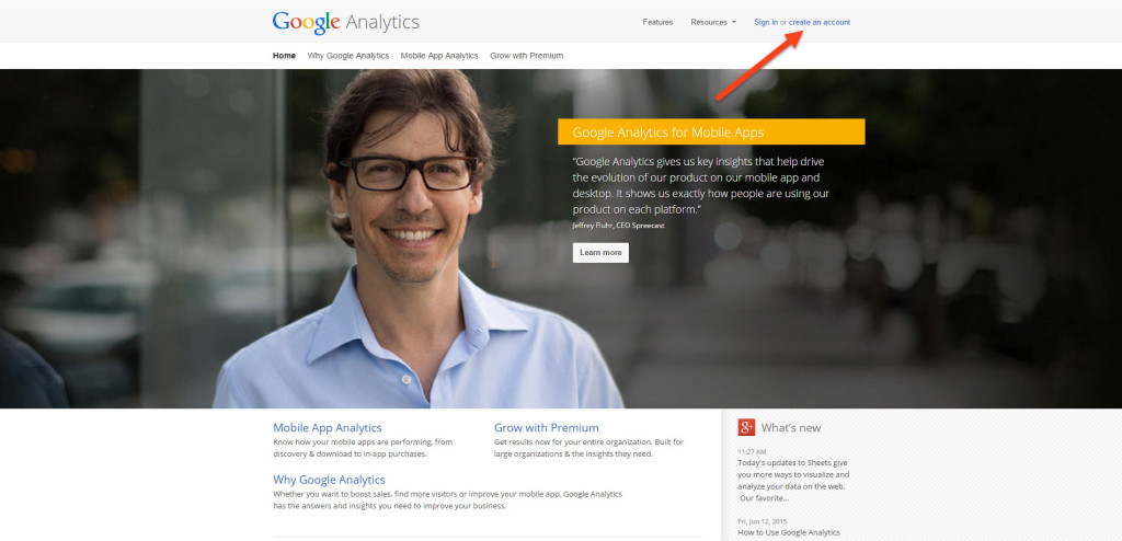 Google Analytics Create Account Splash Page
