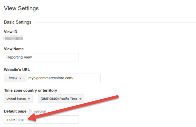 Google Analytics View Default Page
